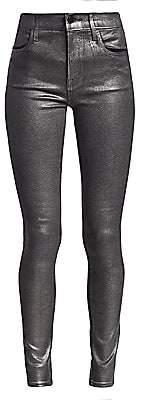 J Brand Women's Maria High-Rise Metallic Coated Skinny Jeans