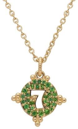 """Judith Ripka 14K Gold Tsavorite """"7"""" Necklace"""