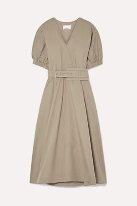 3.1 Phillip Lim Belted Cotton-blend Poplin Midi Dress - Sand