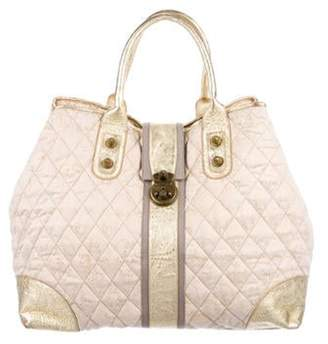 Thomas Wylde Quilted Canvas Weekender Bag Beige Quilted Canvas Weekender Bag