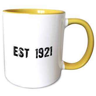 1921 3dRose Grunge Est Established in Twenties Baby Born Child of the 1920s - Personal custom birth year - Two Tone Yellow Mug, 11-ounce