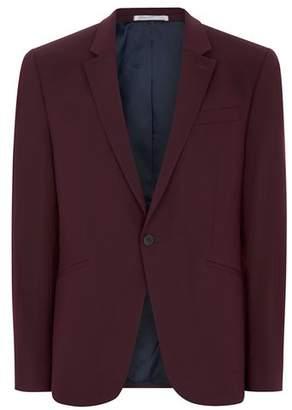 Topman Mens Red Burgundy Muscle Fit Suit Jacket
