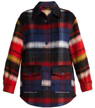 Burberry Checked Alpaca Blend Overshirt - Womens - Blue Multi