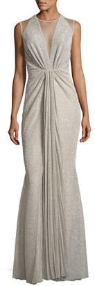 Talbot Runhof Nominee Metallic Voile Illusion Gown, Feather (Taupe)
