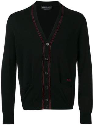 Alexander McQueen knitted contrast stitch cardigan