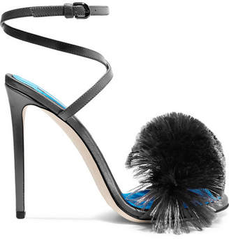Fringed Satin And Leather Sandals - Dark gray