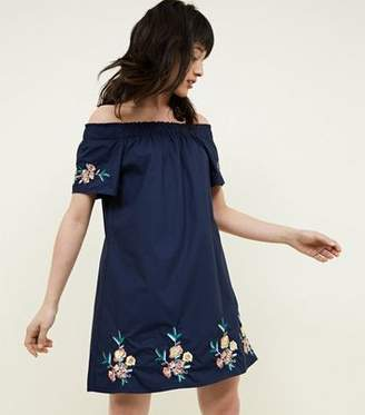 Apricot Navy Floral Embroidered Dress