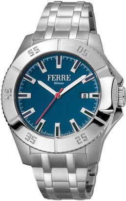 Ferré Milano Men's 45mm Stainless Steel Date 3-Hand Diver Watch with Bracelet, Steel/Blue