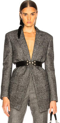 Saint Laurent Check Open Blazer in Black & Chalk | FWRD