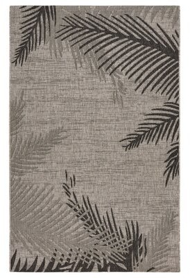 Bay Isle Home Weilers Shaded Palms Gray/Black Indoor/Outdoor Area Rug Bay Isle Home