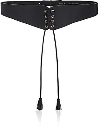 MAISON BOINET Women's Lace-Up Leather Belt - Black