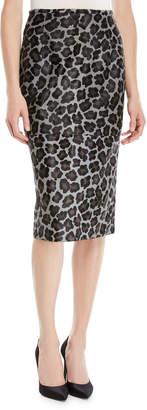 Michael Kors Leopard-Print Calfhair Midi Pencil Skirt