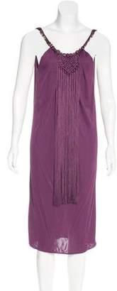 Alberta Ferretti Knee-Length Fringe-Trimmed Dress