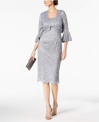 Alex Evenings Glitter-Lace Dress & Bell-Sleeve Jacket