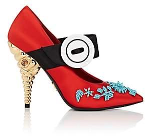Prada Women's Jeweled-Heel Satin Mary Jane Pumps-Pavone+ver