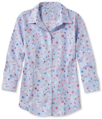 L.L. Bean L.L.Bean Wrinkle-Free Pinpoint Oxford Shirt, Three-Quarter Sleeve Slightly Fitted Floral