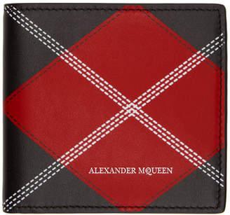 Alexander McQueen Red and Black Argyle Wallet