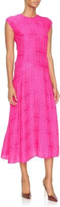 Victoria Beckham Cap-Sleeve Linear Midi Dress