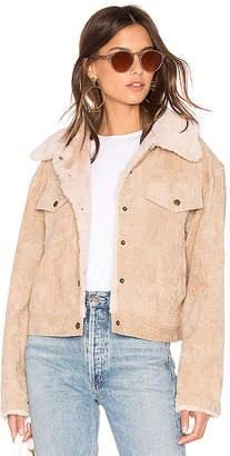 MinkPink Bandit Cord Faux Fur Trucker Jacket