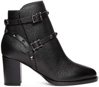 Valentino Black Garavani Rockstud Block Heel Ankle Boots
