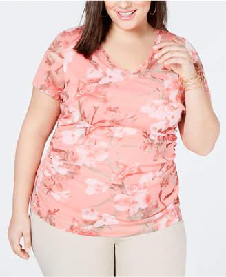 INC International Concepts I.n.c. Plus Size Double-Layer V-Neck T-Shirt