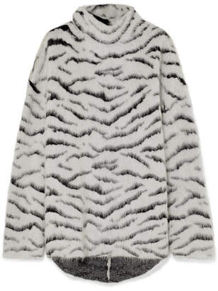 Givenchy Oversized Turtleneck Mohair-blend Jacquard Sweater - White