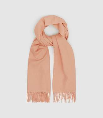 Reiss Saskia - Lambswool Cashmere Blend Scarf in Apricot