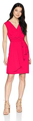 London Times Women's Petite Sleeveless Asymetrical Cascade Faux Wrap Dress