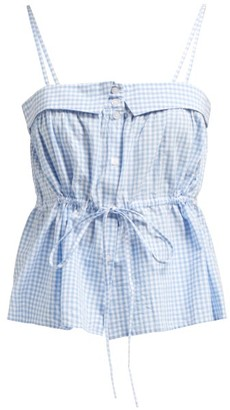 Mes Demoiselles Tropizienne Gingham Cotton Top - Womens - Blue White