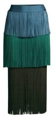 Herve Leger Color Block Fringe Skirt