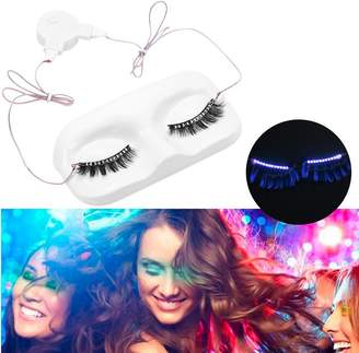 ZJchao LED Eyelashes, 1 Pair False Eyelash Waterproof Luminous Glowing Colorful Light for Halloween Masquerade Ball Parties Night Club