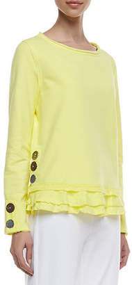 Neon Buddha Cape Side Ruffled-Hem Pullover, Plus Size