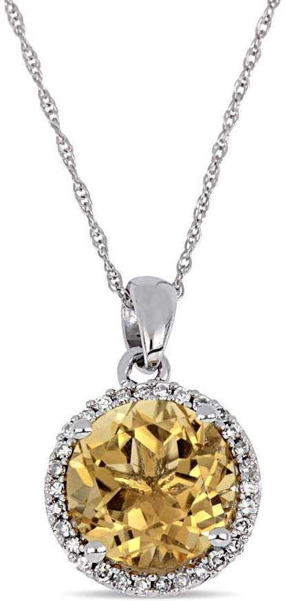 Amour 1/8 CT TW Diamond Halo and Citrine Enhancer Pendant in 10k White Gold