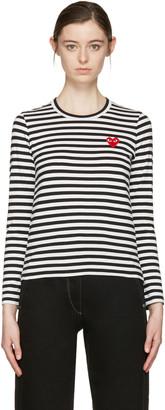 Comme des Garçons Play Black & White Striped Heart Patch T-Shirt $155 thestylecure.com
