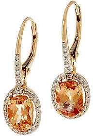 QVC Oval Imperial Topaz & Diamond Drop Earrings,14K, 1.45 cttw