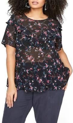 Addition Elle Love & Legend Ruffle Sheer Floral Top (Plus Size)
