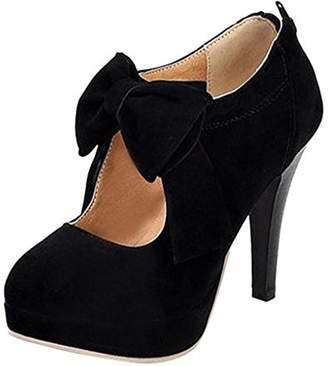 ENMAYER Womens Fashion Knots High Heels Platform Pumps Mary Janes 14 B(M) US