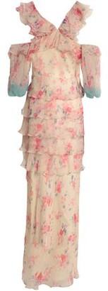 Vilshenko Cold-Shoulder Tiered Floral-Print Silk-Georgette Gown