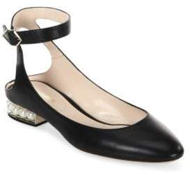 Nicholas Kirkwood Lola Pearl Leather Ankle Strap Ballet Flats