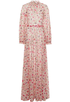 Luisa Beccaria Floral Printed Mock Neck Georgette Maxi Dress Size: 38