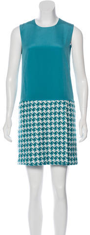 Miu Miu Miu Miu Houndstooth Paneled Shift Dress