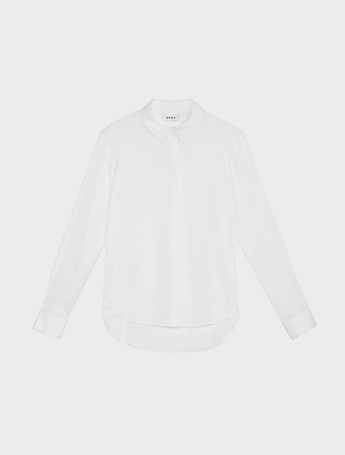 DKNY Collared Shirt With Hidden Placket And Step Hem