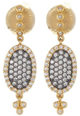Freida Rothman 14K Gold & Rhodium Plated Sterling Silver CZ Pave Oval Drop Earrings