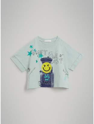 Burberry Smiley Face Print Cropped T-shirt