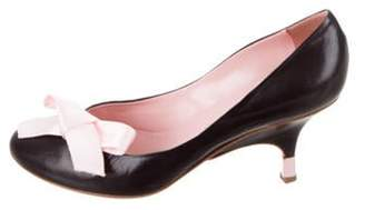 Giuseppe Zanotti Bow-Accented Wedge Pumps Black Bow-Accented Wedge Pumps