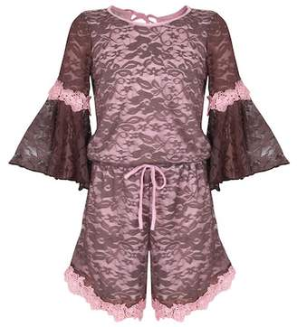 Mia Belle Girls Bell Sleeve Crochet Lace Knit Trim Romper (Toddler, Little Girls, & Big Girls)