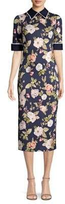 Alice + Olivia Delora Floral Collared Midi Dress