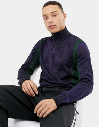Asos Design Knitted Co-ord Half Zip Jumper In Metallic Yarn