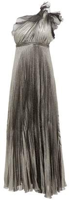 Giambattista Valli One Shoulder Silk Blend Pleated Metallic Gown - Womens - Silver