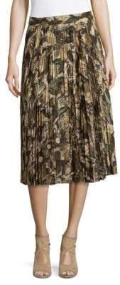 Haute Hippie Mid-Rise Pleated Skirt